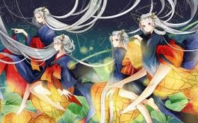 Обои небо, звезды, девушки, волосы, аниме, арт, кимоно