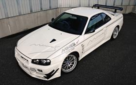 Картинка белый, Nissan, GT-R, ниссан, Skyline, скай
