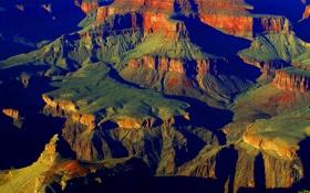 Картинка США, Аризона, закат, скалы, Grand Canyon National Park, горы, каньон