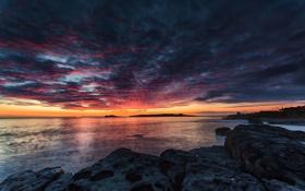 Картинка закат, вечер, залив, тучи, море