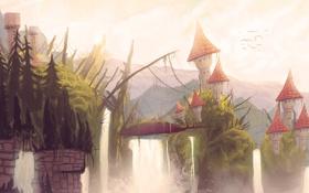 Обои арт, водопады, дома, нарисованный пейзаж, птицы