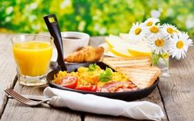 Обои завтрак, ромашки, бекон, хлеб, кофе, сок, дыня