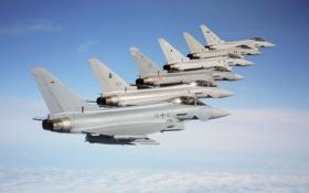 Обои небо, полет, истребители, Typhoon, Eurofighter