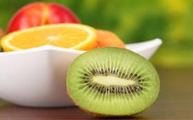 Картинка яблоко, апельсин, киви, тарелка, фрукты