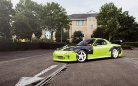 Обои green, тюнинг, Mazda, зеленая, мазда, RX7, Drift Car
