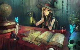 Обои бабочки, часы, книги, череп, шляпа, перчатки, ведьма