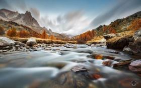 Обои осень, горы, река, камни, Альпы, потоки