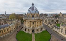 Обои небо, пейзаж, улица, дома, Великобритания, купол, университет