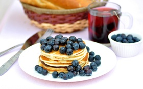 Картинка ягоды, чай, еда, завтрак, черника, мед, тарелка
