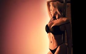 Обои чёрное белье, грудь, Girls, блондинка