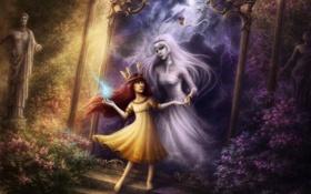 Картинка статуя, ведьма, зеркало, корона, кусты, aurora, портал