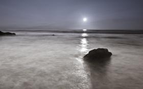 Картинка море, камни, луна, Ночь