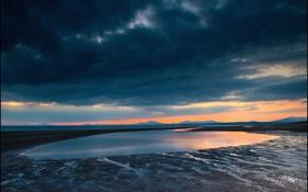 Обои закат, тучи, озеро