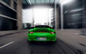 Картинка Город, 911, Porsche, Зеленый, Скорость, Порше, Carrera