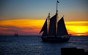 Картинка море, небо, солнце, закат, вечер, парусники