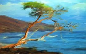 Картинка пейзаж, небо, горы, рисунок, море, картина, дерево