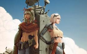 Картинка оружие, девушки, робот, столб, арт, очки, нож
