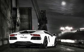 Картинка белый, небо, ночь, луна, тюнинг, корабль, Lamborghini