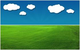 Обои травка, луг, небо, облака