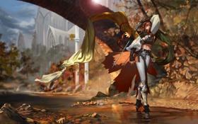 Обои осень, листья, девушка, река, оружие, меч, шарф