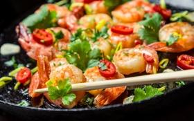 Обои pepper, dish with seafood, блюдо с морепродуктами, креветки, зелень, shrimps, greens