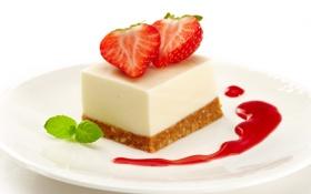 Картинка ягоды, сладость, клубника, пирог, торт, пирожное, мята