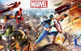 Обои Ghost Rider, Hulk, Wolverine, Iron Man, Captain America, MMORPG, Thor