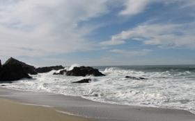 Картинка песок, волны, пляж, небо, вода, облака, пейзаж