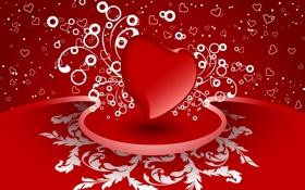 Картинка узоры, Сердце, Heart, Красно-белый