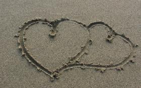 Картинка песок, пляж, настроения, сердце, сердечки