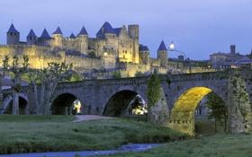 Обои река, небо, вечер, башня, крепость, огни, замок