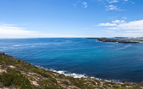 Обои море, небо, облака, пейзаж, обои, побережье, горизонт