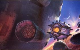 Картинка будущее, фантастика, орбита, космические корабли, КрисМоор