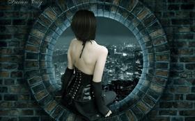Картинка девушка, ночь, город, окно, кирпичи, sity, fiction