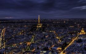 Обои свет, ночь, город, Франция, Париж, здания, дома