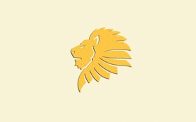 Обои желтый, минимализм, лев, голова, светлый фон, lion, король