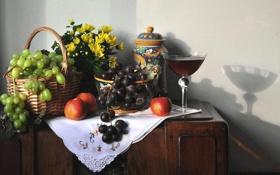 Картинка цветы, стол, виноград, посуда, фрукты, натюрморт