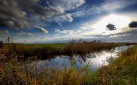 Картинка небо, пруд, река, долина