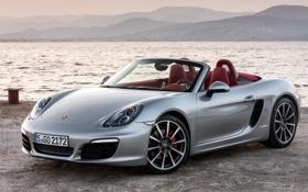 Обои Порше, серебристый, Porsche, передок, вода, Boxster S, берег