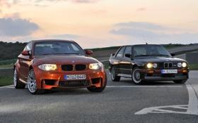 Обои BMW, Улица, БМВ, Оранжевый, Чёрный, 1 Series, Передок