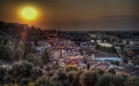 Обои солнце, деревья, река, здания, мосты, Italy, Florence