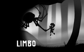 Обои монстр, паук, мальчик, черно-белое, монохромное, Limbo