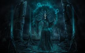 Обои трещины, магия, круг, ведьма, мрачно