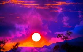 Обои небо, солнце, облака, закат, горы