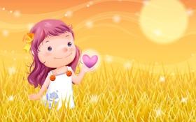 Обои сердце, луг, девочка