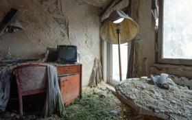 Картинка комната, телевизор, abandoned hotel