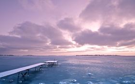 Обои закат, лёд, море