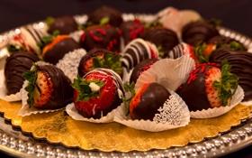 Обои шоколад, клубника, сладости, блюдо