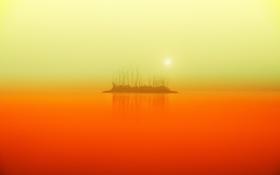 Картинка закат, пейзаж, озеро, остров, туман