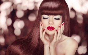 Картинка sexy, redhead, hands, nails, makeup